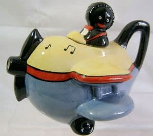 Carlton Ware Golly Airplane Novelty Teapot  - SOLD