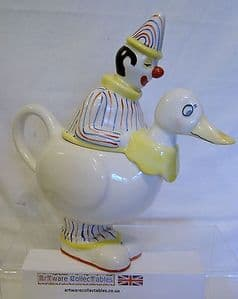 Carlton Ware Lustre Pottery Pantomime Clown on Duck - Cream Jug - Striped Suit - SOLD