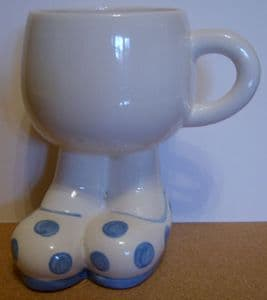 Carlton Ware Lustre Pottery Walking Ware Big Foot Blue Spot Cup - 1980s