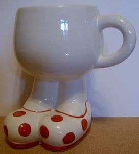 Carlton Ware Lustre Pottery Walking Ware Big Foot Red Spot Cup - 1980s