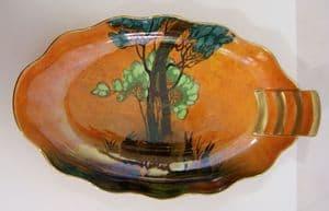 Carlton Ware 'Rabbits At Dusk' (Shadow Bunny) Oval Scallopped Dish - 1930s
