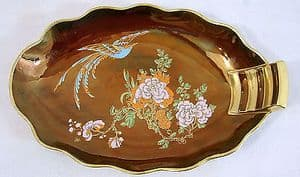Carlton Ware - Rouge New Bird of Paradise Oval Scalloped Dish - 1940s