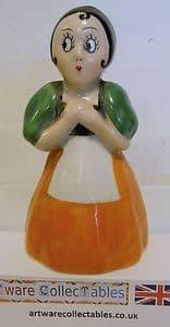 Carlton Ware 'Serving  Wench'  Napkin Holder Orange Dress Figurine - 1930s - SOLD