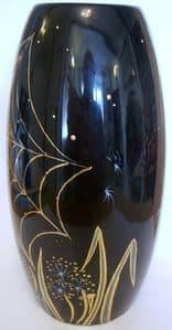 Carlton Ware - Skittle Vase in Black & Gold Spider's Web Design by Marie Graves - SOLD