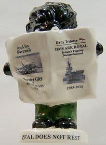 Carlton Ware Small Golly Newsreader - Ark Royal & Harrier GR9 Disbandment  (2) SOLD