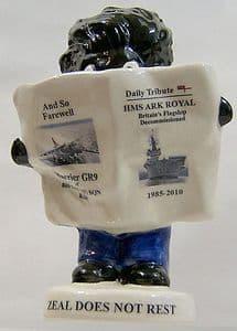 Carlton Ware Small Golly Newsreader - Ark Royal & Harrier GR9 Disbandment - SOLD