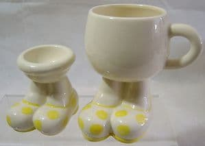 Carlton Ware Walking Ware Big Foot Yellow Spotted Matching Cup & Eggcup