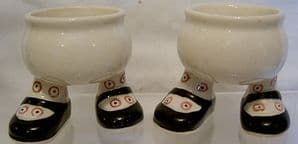 Carlton Ware Walking Ware Eggcup - Black Shoes & Red Spots