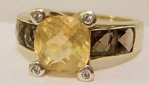 Citrine, Diamonds, Brown Topaz 9ct Hallmarked Gold Ladies Ring with Box - SOLD