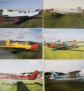 Colour Photos SAAB 91C Safir x 8 + SAAB MFI-9B Junior SE-ENH,SE-ENG