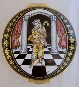 Crummles English Enamel Trinket Box - The Wandering Minstrel - SOLD