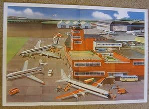 Educational Airport Scene - Original Foldout Poster from Summer Quarterly 1967