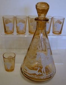 French Retro Carafe & 6 Stirrup Glasses - Hunting theme