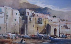J Barrie Haste - Cefalu, Sicily, Italy - Watercolour