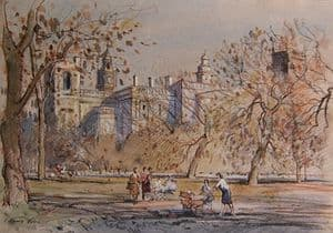 J Barrie Haste - St, James Park on a Windswept Day - Original Watercolour - SOLD