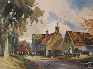 J.Barrie Haste - Grewelthorpe Farm - Watercolour - SOLD