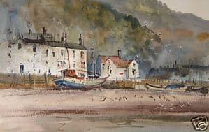 J.Barrie Haste - Scarborough Old Harbour - Watercolour - Glazed & Framed - SOLD