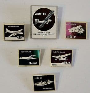 Official Russian Pin Badges - Aircraft Fleets Of The USSR x 6