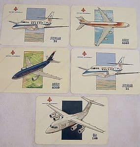 Original British Aerospace Aircraft Laminated Promotional Cards x 4 + 1