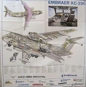 Original Flight Folded Cutaway Poster - Embraer KC-390 - SOLD