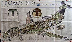 Original Flight Folded Cutaway Poster - Embraer Legacy 500 - SOLD