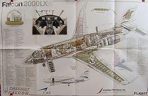 Original Flight Folded Cutaway Poster - Falcon 2000LXS + Flight Mag issue