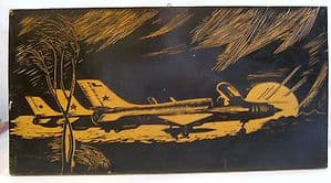 Original Oil on Wood Trench Art - Mig-21 Unsigned, Unframed - SOLD