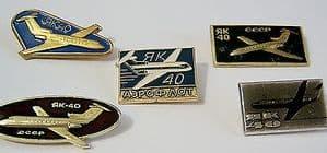 Original Russian Pin Badge Yakolev Yak-40 - Aeroflot Passenger Workhorse x 5