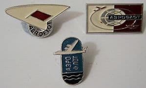 Original Russian Pin Badges - Aeroflot Official Badges x 3