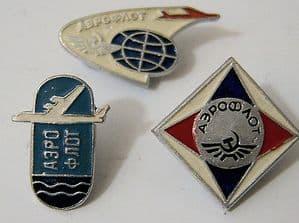 Original Russian Pin Badges - Aeroflot Official Badges x 3 (Set 2)