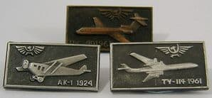 Original Russian Pin Badges - Aeroflot Progression in Airliners x 3