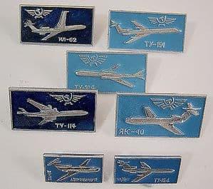 Original Russian Pin Badges - Mainstream Aeroflot Jet Airliners x 7 Badges