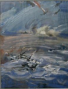 Original Soviet Gouache Painting - The Attack on Archangel - Signed, Framed