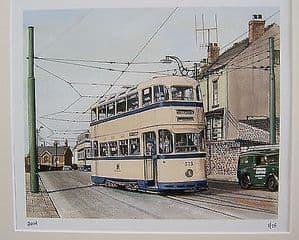 Phil Ambler Original Giclee Print - Sheffield Tram Charles Roberts 4-wheel Car