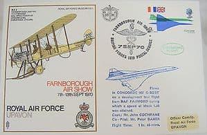 RAF Flown Cover 1st Series SC1 - Concorde G-BSST Test Flight 07/09/70 - Farnboro
