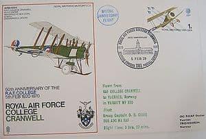 RAF Flown Cover 1st Series SC8 - 50 Ann RAF College, Cranwell - 1970