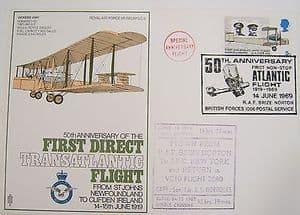 RAF Flown Cover 1st Series SC9 50 Ann First Direct Transatlantic Flight 1969