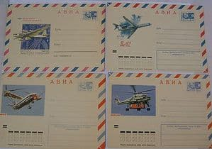 Russian Airmail Envelopes - Set of 10 - Important Russian Aircraft - SOLD