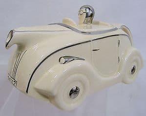 Sadler's Original Sports Car Teapot - Cream & Silver - SOLD