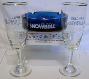 Snowball Ashtray & 6 Glasses