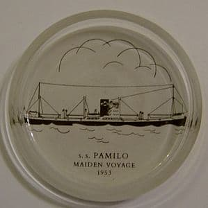 SS Pamilo Maiden Voyage Glass Paperweight/Pin Dish