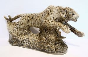 Stafforshire Cream Ware - Leaping Leopard - Signed