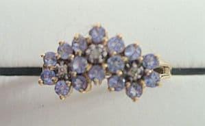 Tanzanite & Diamond 9ct Gold Lady's Ring - Boxed