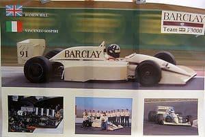 Team Barclay EJR F3000 1991 - Damon Hill/Vincenzo Sospiri - Official Poster - SOLD