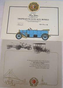 Trophaeum Club Alfa Romeo Certificate - Turkish Automobile Club of Istanbul - SOLD