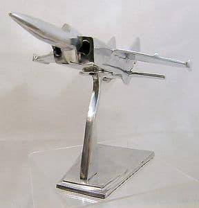 Very Large Engineer's ChromeDemonstration Model 1980s Jet Fighter/Bomber