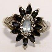 Victorian Sapphire & Topaz Silver (925) Flower Ring