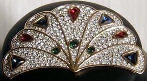 Vintage Swarovski Pave Fan Pin Brooch