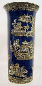 W&R Carlton Ware 'Kang HSE Chinoiserie' Cylindrical Vase - One of a Pair -1920 - SOLD