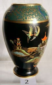 W & R Carlton Ware Kissing Doves Black & Green Mikado Vase - SOLD